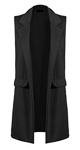 FASHION FAIRIES Dames Womens Front Open Plain Mouwloos Duster Lange Waistcoat Blazer Jacket