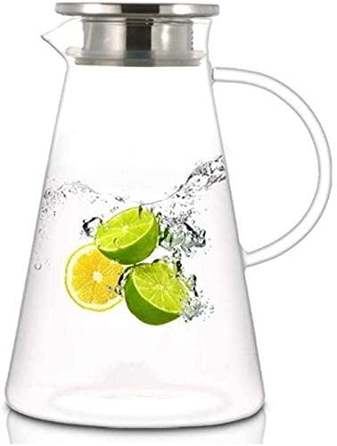 QZH Jarra de Vidrio, Tapa Helada y Mango Jarra de Vidrio Resistente al Calor de borosilicato para té/Agua fría Caliente/Hielo Vino Café Leche Jugo Jarra para Bebidas con Boquilla T