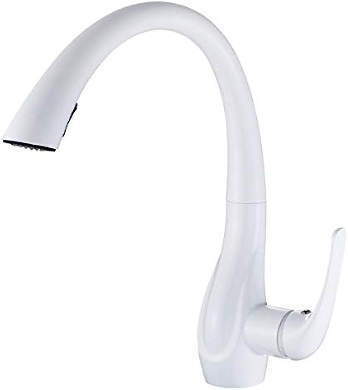 Wasserhahn Waschtischarmatur KüchenarmaturVoll Kupfer Matt Wei Ausziehbare Küchenspüle Wasserhahn Taps Drehbar
