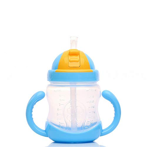 LAFILLETTE Present Beautiful Design and Attractive Color Kid's Soft Straw Insulated Plastic Juice Sipper Training Cup with Handles (Blue)