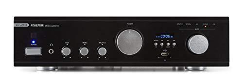 Fonestar AS-140RUB 2.0canales Hogar Alámbrico Negro - Amplificador de audio (2.0 canales, 40 W, 0,05%, 85 dB, 40 W, 80 W)