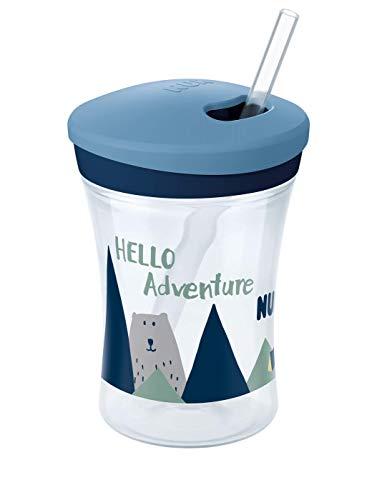 NUK 10255513 Hello Adventure Action Cup 230ml, weicher Trinkhalm, auslaufsicher, ab 12 Monaten, BPA frei, Boy, blau