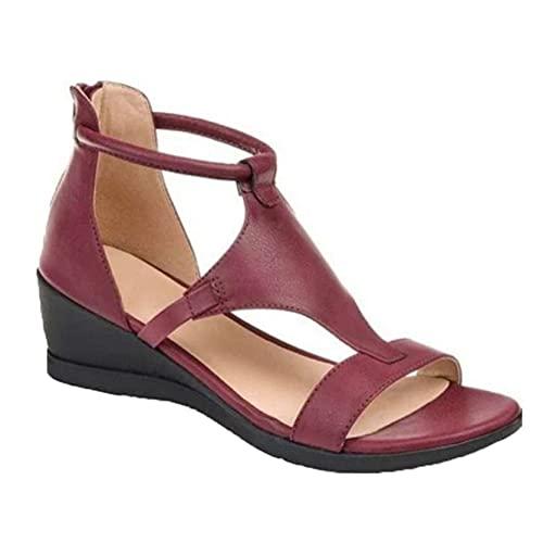 Frauen Sommer Schuhe Peep Toe Outdoor Freizeit Roman Sandalen Zurück Zip Street Walking Schuhe Strandschuhe Wedge Heel