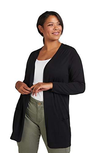 Zizzi Damen Große Größen Cardigan Offen V-Ausschnitt Lang Strickjacke , Farbe Schwarz, Gr 50/52 (L)