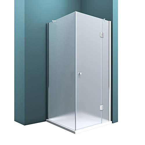 Duschabtrennung Milchglas 75x90, 6mm ESG-Sicherheitsglas, Duschwand aus Echtglas, Nanobeschichtung, Duschkabine Ravenna05S