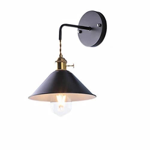 Lámpara de Pared Interior Blanco Cálido Sin Bombillas con Interruptor Lámpara de Pared de Hierro nórdica Conector E27 para Salon Dormitorio Sala Pasillo Escalera lámpara Sconce Industrial,Negro