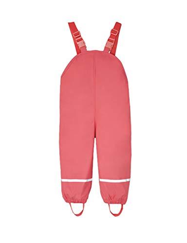 PIZOFF Unisex Kinder Regenlatzhose, Wind- und wasserdichte Textilfutter Matschhose mit Inner Fleece gefüttert Regenhose 01130140XRed+M