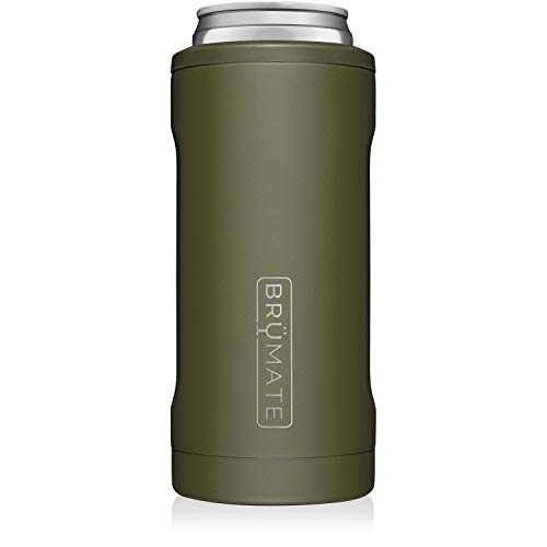 BrüMate Hopsulator Slim Double-walled Stainless Steel Insulated Can Cooler for 12 Oz Slim Cans (OD Green)