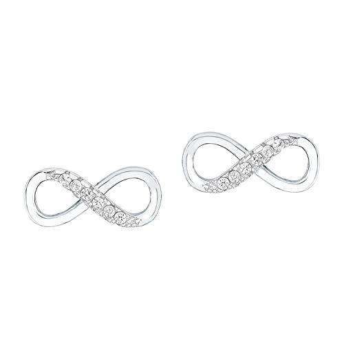 amor Ohrstecker für Damen 12 mm Infinity Unendlichkeitszeichen 925 Silber rhodiniert Zirkonia weiß