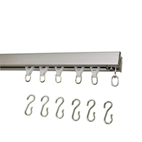 Ceiling Curtain Track Set with Wheeled Carriers and Hooks (12' in 2 Sections-Silver)