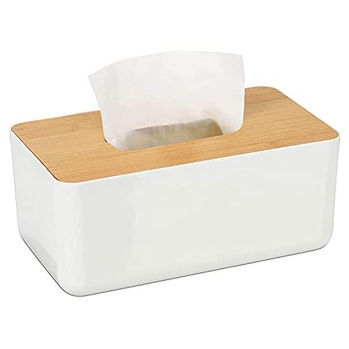 Wood Meets Color Boite a Mouchoirs Rectangulaire, Boîte de Mouchoirs en Bambou, Boîte de Lingettes de Maquillage, Boîte à Mouchoirs Simple pour Cuisine, Salon, Toilette (Blanc 23X13X10CM)