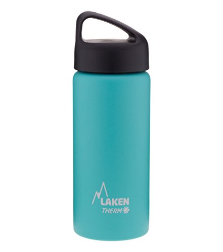 Laken Thermo Classic Vacuum Insulated Stainless Steel Wide Mouth Water Bottle with Screw Cap, 34 Oz, Turquoise