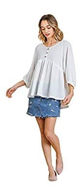 Umgee Women's Baby Doll Waffle Knit Top (2X, Off White)