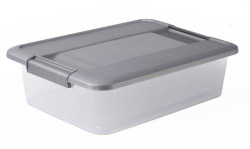 Sundis KLIKER Box A4 Flat Argent Caja con Tapa Metalizada Y Sistema de Cierre Mediante Clips, Transparente/Plata, 7L