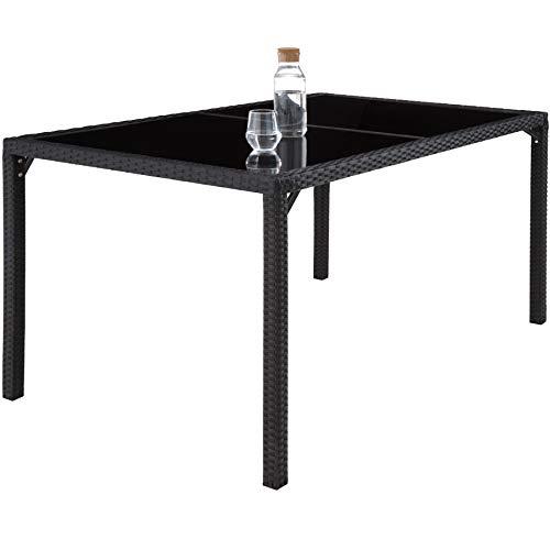 TecTake 800325 - Poly Rattan Sitzgruppe, 6 Stühle mit Sitzkissen, 1 Tisch mit 2 Glasplatten, inkl. Schutzhülle - Diverse Farben - (Schwarz | Nr. 402058) - 2