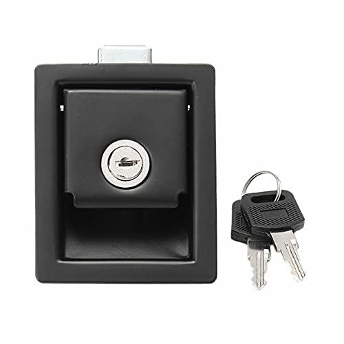 Vernacular Ajuste para RV Coche Paddle Puerta Cerradura de Puerta Latch Manija Perilla Camper-Trailer Tipo Tipo Panel Cerradura de la Puerta (Color : Black)