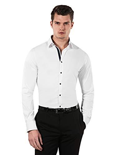 Vincenzo Boretti Herren-Hemd Body-Fit (besonders Slim-fit tailliert) Uni-Farben bügelleicht - Männer lang-arm Hemden für Anzug Krawatte Business Hochzeit Freizeit weiß/dunkelblau 43/44