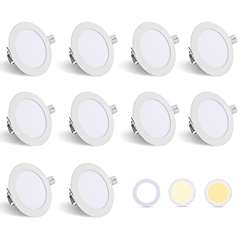 Hengda Foco Empotrable LED 6W Juego de 10, Redondo Regulable 3 in 1 Downlight empotrable LED IP44 Super Slim Luz...