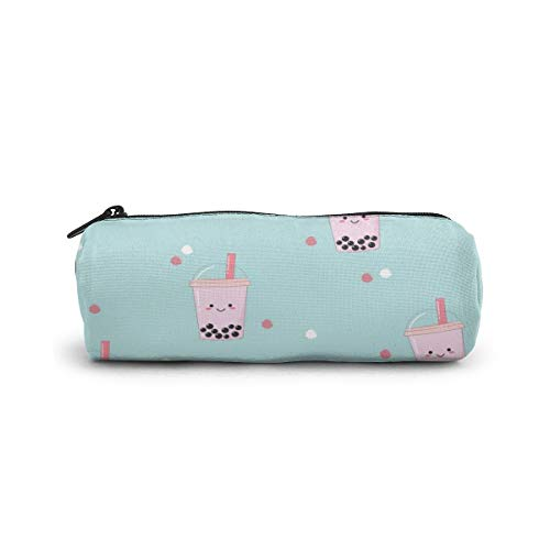 Cylinder Cosmetic Bag Bubble Milk Tea Pattern Pencil Case Small