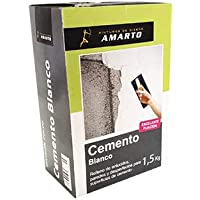 Materiales en polvo para pequeñas reparaciones en el hogar,cemento blanco,cemento cola,yeso,escayola y masilla en polvo (Cemento Blanco, 1,5 kg)