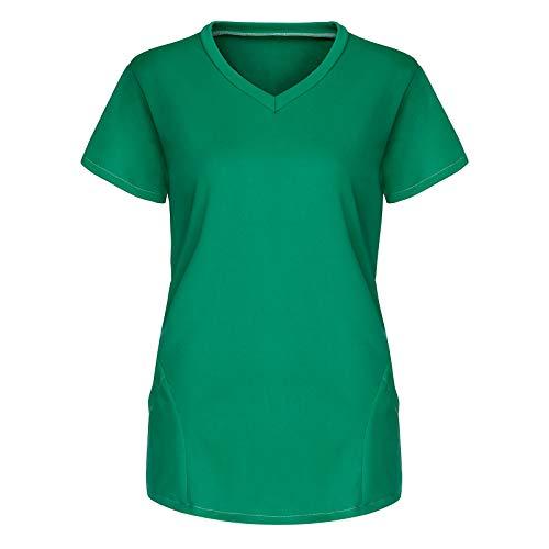 BBYU Krankenpflege Uniform V-Ausschnitt Kurzarm Medizinische Uniformen Arbeitskleidung Einfarbig Schlupfkasack Damen Pflege Große Größen Kurzarm T-Shirt Schlupfhemd Berufskleidung