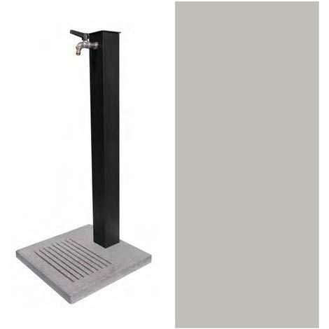 BEL-FER Fontana in Metallo da Giardino Completa di Base in Cemento con Fessure per Scarico a Perdere, Modello 42/QBM Colore Alluminio