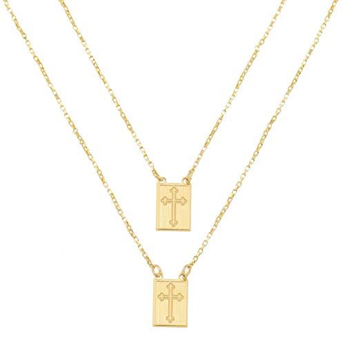Escapulário Masculino Placa com Cruz Banhado à Ouro 18k