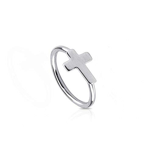 Body Jewellery Shack 1 of Nose, Lip, Ear Ring bar Lip daith Tragus Helix with Cross 316L Surgical Steel
