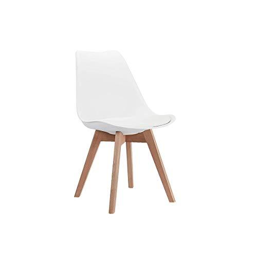 CangLong Mid Century Modern Dining Chair DSW-Sedia laterale con gambe in legno, per cucina, soggiorno e sala da pranzo, Cuscino bianco PP faggio, Set di 1