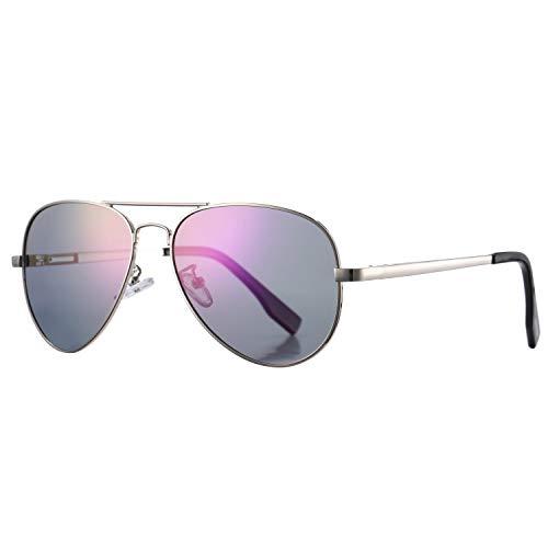 AZORB Polarized Aviator Sunglasses Mirrored Lens Metal Frame for Men Women, 100% UV 400 Protection (Silver Frame/Purple Mirrored)