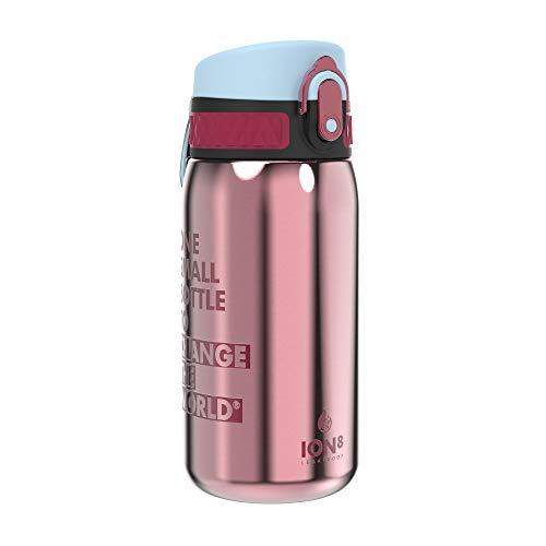 Ion8 Acero Inoxidable Botella Agua, Sin Fugas, Flor Rosa, 320ml