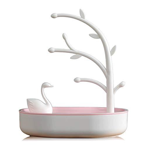 TOOGOO Caja de Joyería para Mujer el Lago de los Cisnes Caja de Almacenamiento de Joyas Anillo Pendiente Collar Caja de Almacenamiento de Distribución Regalo de Cumpleaaos Rosa