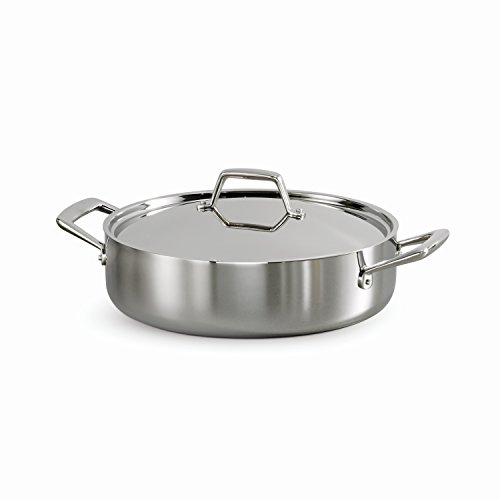Tramontina 80116/594DS Gourmet Stainless Steel Induction-Ready Tri-Ply Clad Covered Braiser, 6-Quart, NSF-Certified, Made in Brazil