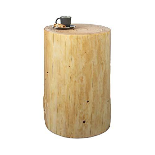 GREENHAUS Baumstamm Beistelltisch rund 30-35 cm Fichte massiv Handarbeit und Massivholz aus Deutschland Holzstamm Nachttisch