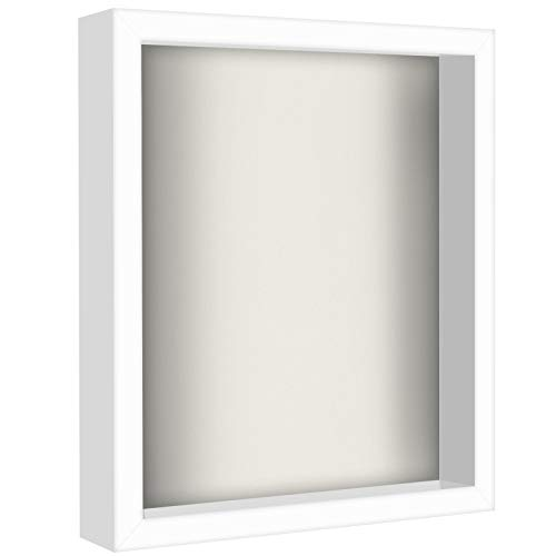 Americanflat 11x14 Shadow Box Frame in White with Soft Linen Back - Composite Wood with Shatter...