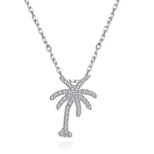 VAWAA Collar de Plata de Ley 925 para Mujer, Collares con Colgante de árbol de Coco de circonia cúbica Transparente, joyería Fina, Regalo de cumpleaños