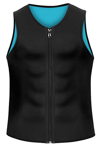 CORATED LTSnake Mens Hot Sweat Body Shaper Tank Top Tummy Fat Burner Slimming Sauna Vest Weight Loss Shapewear Neoprene (Blue, M)