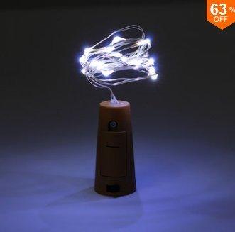 MASUNN Batterie Alimenté 10 LEDs en Liège en Forme De Nuit Étoilée Lumière Bouteille De Vin Lampe De Vacances pour Noël Party-Blanc