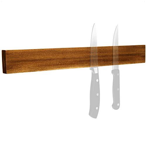 com-four® Cinta magnética para Cuchillos de Madera de Acacia para Montaje en Pared - Cinta magnética para Cuchillos - Portacuchillos de Cocina - 40 cm (Madera de Acacia)