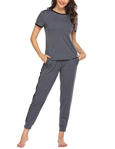 Ekouaer Womens Pajamas Set Short Sleeve Tops and Pants 2 Piece PJ Sets Joggers Loungewear Sleepwear with Pockets Grey