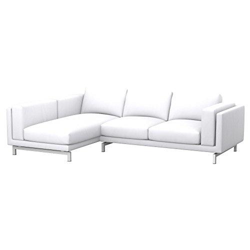 Soferia Ersatzbezug fur IKEA NOCKEBY 2er-Sofa mit Recamiere, Links, Stoff Eco Leather White, Weiß