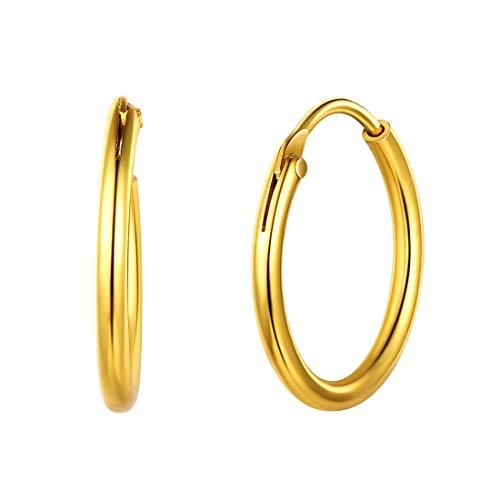 Créoles Or Femme - Boucles d'oreilles Créoles Argent Fin 925 Diamètre 15 mm - Cercle Endless Hoop Bijoux Cerceau pour Femmes et Filles