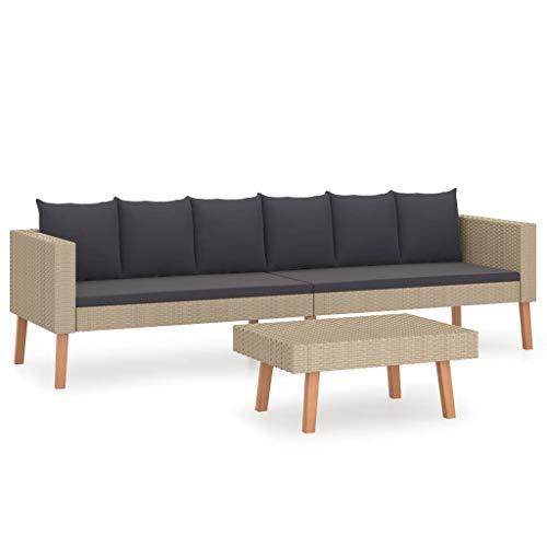vidaXL Gartenmöbel 2-TLG. mit Auflagen Sitzgruppe Lounge Sofa Garnitur Sitzgarnitur Gartenset Couchtisch Couch Gartensofa Poly Rattan Beige
