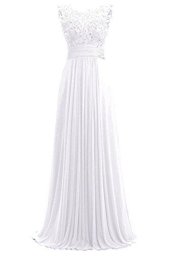 Dresses Onlie Damen Chiffon Abendkleider Lange Elegant HochzeitsKleid Spitze Cocktailkleider(Weiß,42)