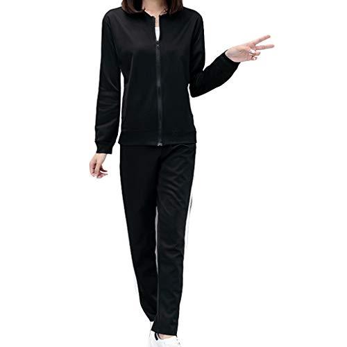 MEIbax Versión Mejorada Sólido Manga Larga Abrigo Pantalones Deportivos Mujer Conjuntos de Deporte Mujer 2pcs Chándal Encapuchada Tops + Pantalones Señoras