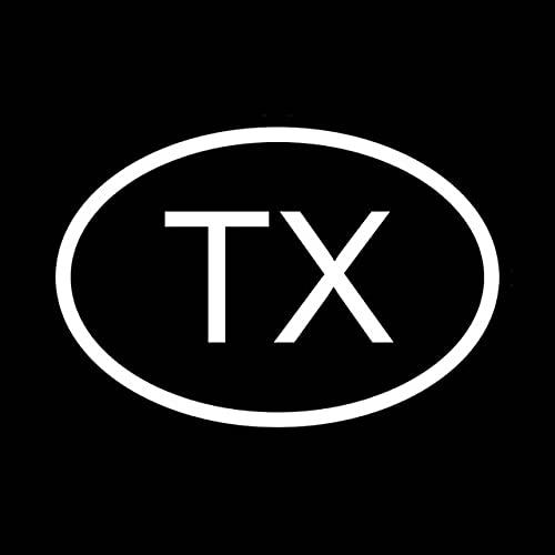 A/X Sticker de Carro 13,1 CM * 8,9 CM Etiqueta DE Vinilo Pegatina para Coche TX Texas CÓDIGO DE PAÍS Oval Negro Plata C10-01212Plata