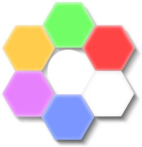 Empalme De Luces RGB, Paneles De Luz LED Inteligente Luz De Pared con Sensor Táctil Hexagonal Diseño Minimalista Geométrico DIY Creativo De Atracción Magnética Geometría Noche De La Lámpara,1 Lamp