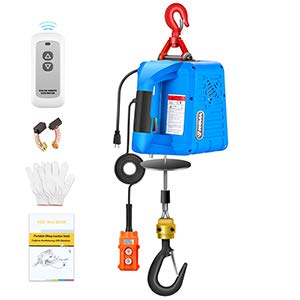 ANBULL Electric Hoist with Wireless Remote Control 110Volt Portable 1100LBS 7.6M Hoist Electric Winch with Emergency Stop Switch