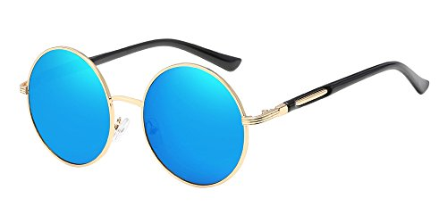 BOZEVON Retro Runde Sonnenbrille Damen - Vintage stilvoll Kreis Metallrahmen Gold-blau