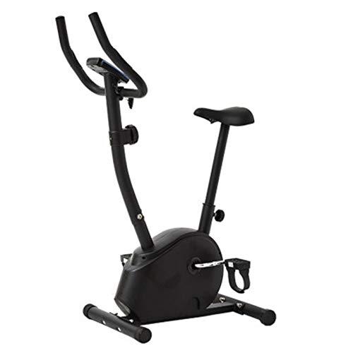 DJDLLZY Bicicleta estática estacionaria con 8 niveles de resistencia magnética, interior vertical con asiento cómodo, con monitor LCD para entrenamiento en casa, color negro